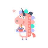 Unicorn With Party Attributes Girly Stylized Funky Sticker