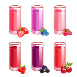 Set of different juices with berries.