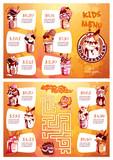 Kids menu with milkshakes and maze game.