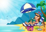 Girl on sunlounger image 3