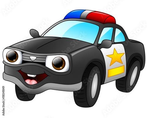 Fotobehang Auto Police car cartoon