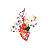 Vector illustration for healthy lifestyle concept combining colorful human heart with growing trees