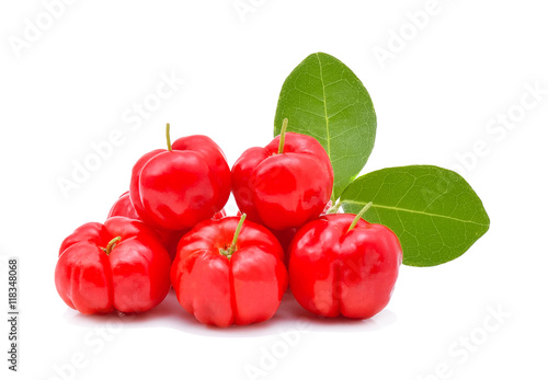 Fotobehang Kersen Barbados cherry,Ripe thai cherry on white background