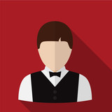 Waiter flat icon illustration