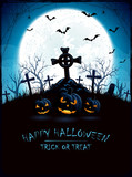 Blue Halloween background with Moon and cemetery