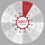 Circle 2017 calendar template for commercial and private use - week starting with Monday