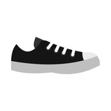 Black sneaker icon in flat style on a white background