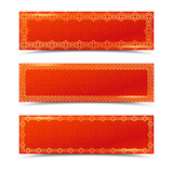 Chinese red horizontal banners with gold borders. Vector templates