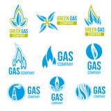 Gas industry vector logos, icons set