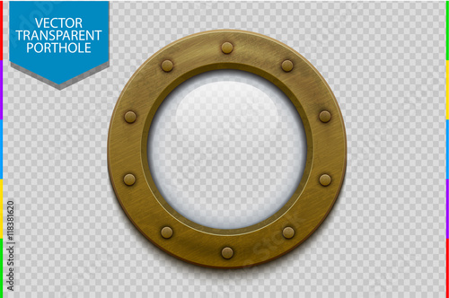 Fototapeta Illustration of a bronze or brass ship porthole with glass isolated on transparent background. Rivets mount.