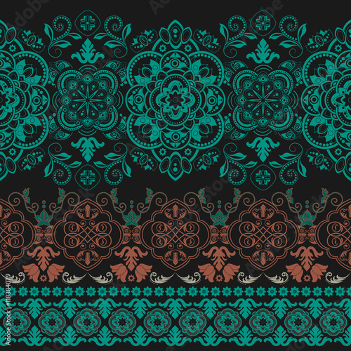 Striped seamless pattern. Floral wallpaper - 118384079