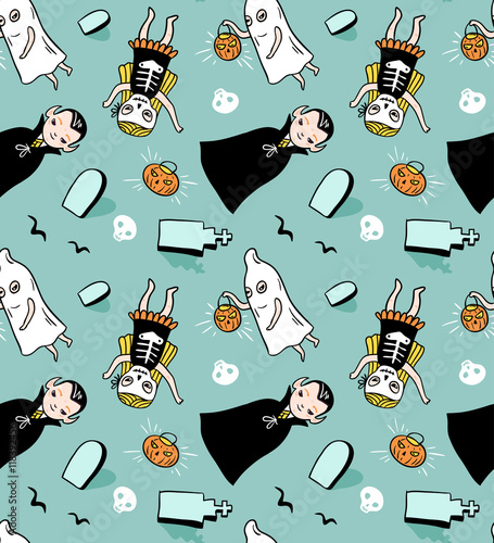 Materiał do szycia Halloween seamless pattern. Vector background with children in costumes. Illustration with vampire, ghost and skeleton.