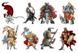 Knights and Warriors of different times, vector illustration