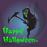 Grim Reaper Hold Scythe Happy Halloween Banner Greeting Card