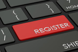 Register button, red hot key on  keyboard. 3D rendering