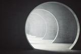 Textured concrete tunnel