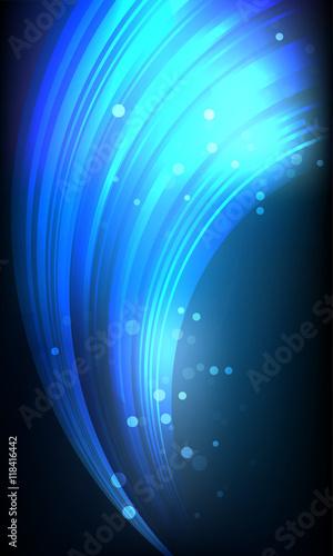 Zdjęcia na płótnie, fototapety, obrazy : Curved neon lines on black background with lights