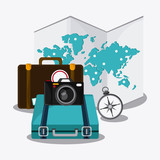 baggage map compass time travel vacation trip icon. Colorful design. Vector illustration