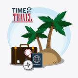 baggage palm tree time travel vacation trip icon. Colorful design. Vector illustration