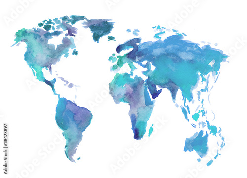 Juliste Watercolor blue world map
