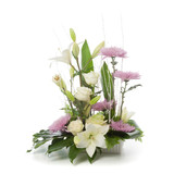 Floral arrangement made of lily, rose and chrysanthemum flowers