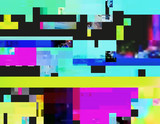 Glitch background in the rave aesthetic. Random digital signal error. Abstract contemporary print made of colorful pixel mosaic. Element of design for a trendy poster, cover, invitation or postcard.