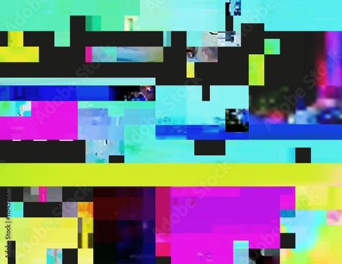 Glitch background in the rave aesthetic. Random digital signal error. Abstract contemporary print made of colorful pixel mosaic. Element of design for a trendy poster, cover, invitation or postcard. - 118432668