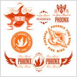 Phoenix - vector set of fire birds and flames logo.