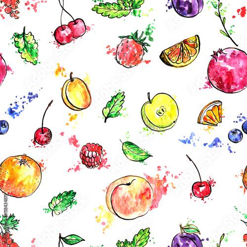 Fototapeta seamless pattern with hand drawn fruits