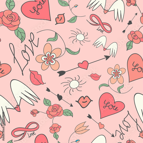 Cotton fabric Seamless vector pattern with hearts and arrows.