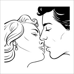 kissing couple in retro style