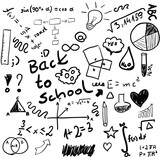 Back to school - set of school doodle illustrations, vector