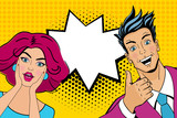Wow couple. Attractive surprised man and woman in pop art comic retro style with open mouths. Vector cartoon illustration.