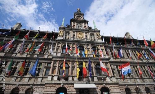 Fotobehang Antwerpen Stadhuis Antwerpen / Reichgeschmücktes Rathausportal in Antwerpen