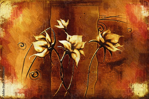 Vintage oil painting with art illustration flower © maxtor777
