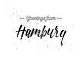 Greetings from Hamburg, Germany. Greeting card with lettering design.