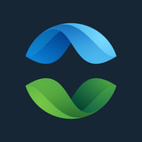 Green leaves icon. Ecology sphere logo.