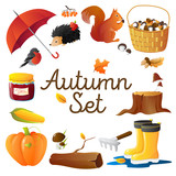 Autumn Icons Set Round Composition Poster