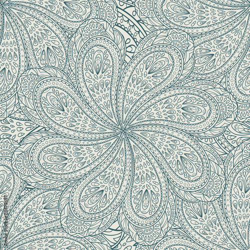 Seamless pattern of hand-drawn and painted mandalas. Vector graphics. - 118479697