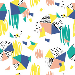 Hand drawn seamless pattern with  brush strokes and geometric figure.