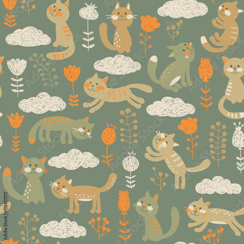 Seamless pattern in vector with cats