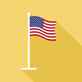 USA Flag on Flagpole Vector Flat Icon - 118483034