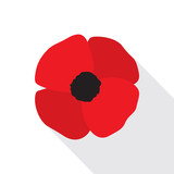 Red Poppy Flower Flat Icon