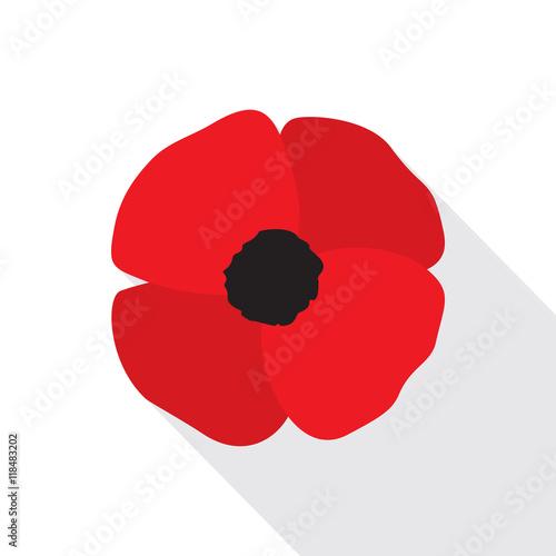 Red Poppy Flower Flat Icon