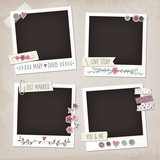 Vintage scrapbook set of photo frames with flowers, laurels, wreaths, stickers, washi tapes, buttons. Wedding scrapbook elements. - 118491074