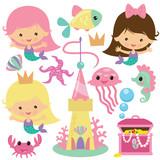 Cute Mermaid  Illustration Wall Sticker