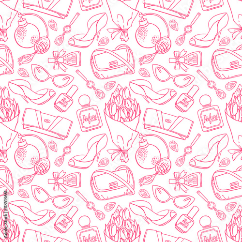 Cotton fabric seamless background of sketch female things