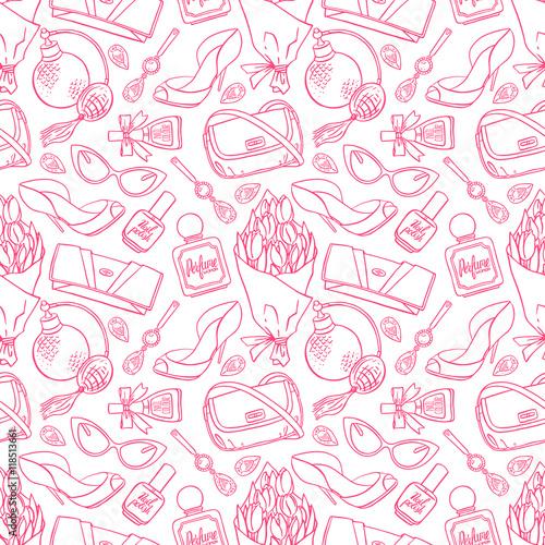 Materiał do szycia seamless background of sketch female things