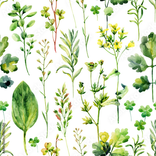 Materiał do szycia Watercolor meadow weeds and herbs seamless pattern
