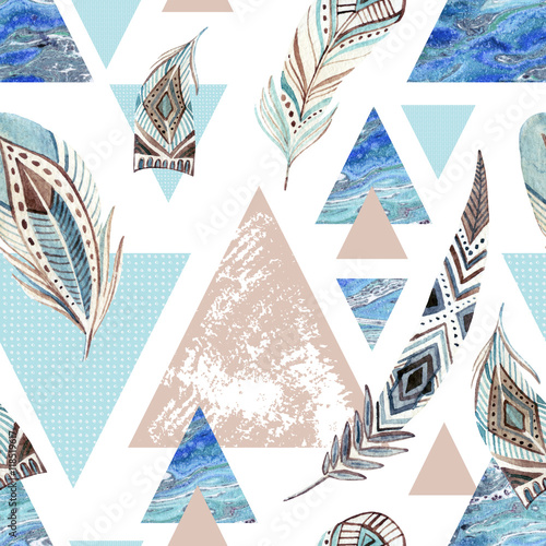 Cotton fabric Abstract grunge geometric seamless pattern.